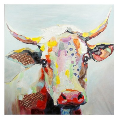 50  Colorful Cow Printed Canvas Decorative Wall Art - StyleCraft