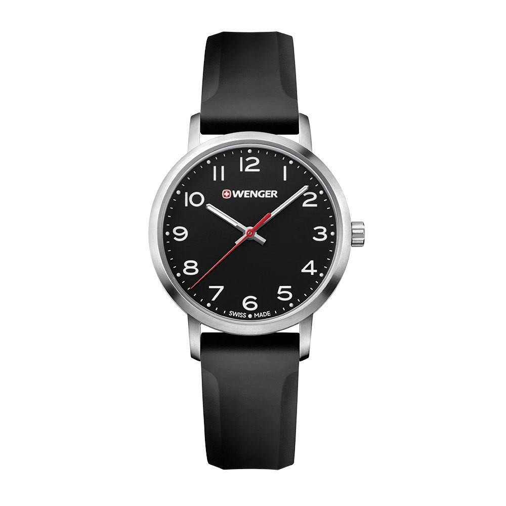 Image of Women's Wenger Avenue - Swiss Made - Black Dial Silicone Strap watch - Black, Size: Small