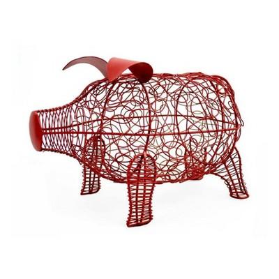 Wire Pig Figurine Red 9  - Drew DeRose