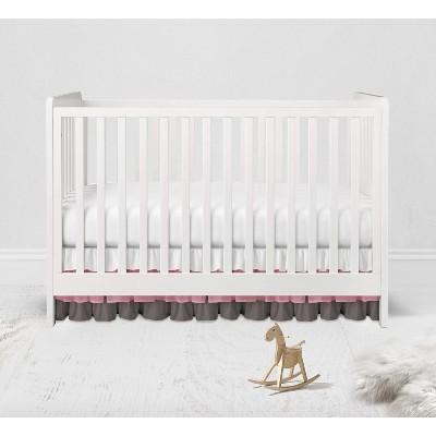 Bacati - 3 Layer Ruffled Crib/Toddler Bed Skirt - White/Pink/Gray