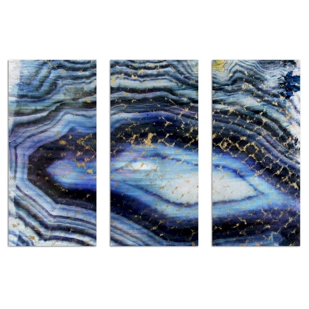 """Image of """"Oliver Gal Unframed Wall """"""""Sea of Gold Triptych"""""""" Canvas Art (36 x 17), Blue"""""""
