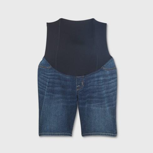 Crossover Panel Bermuda Maternity Jean Shorts - Isabel Maternity by Ingrid & Isabel™ Dark Denim Wash - image 1 of 2