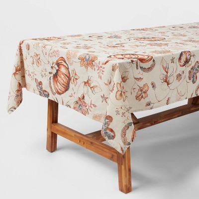 "84"" x 60"" Cotton Pumpkin Tablecloth - Threshold™"