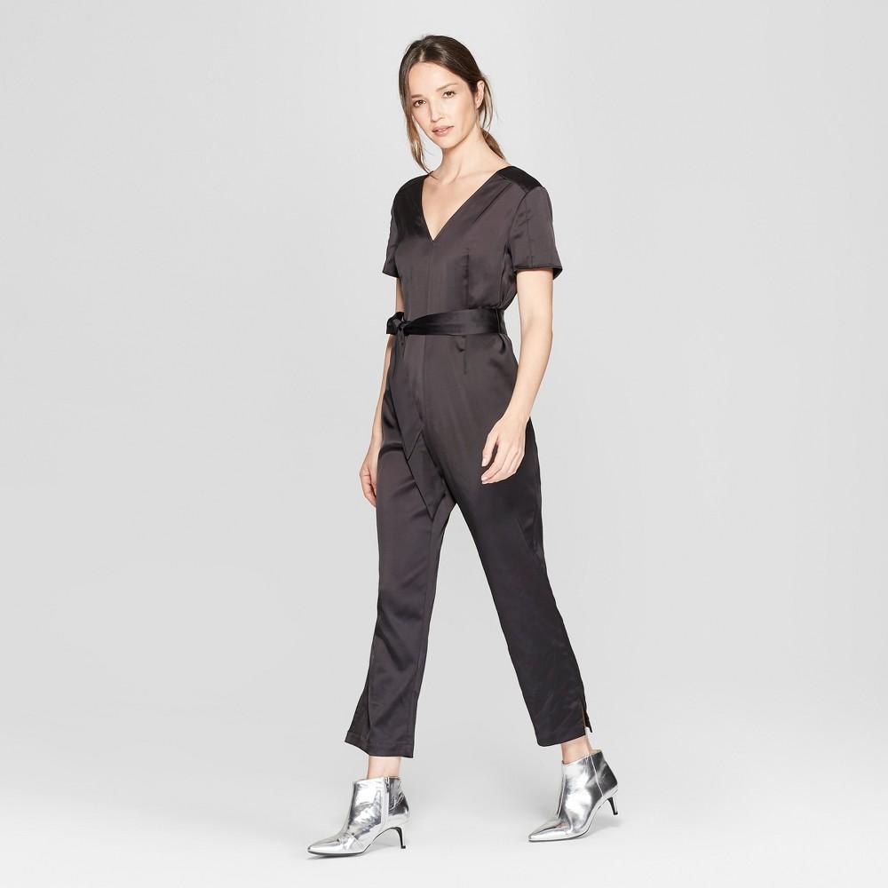Women's Short Sleeve V-Neck Jumpsuit - Prologue Black 4
