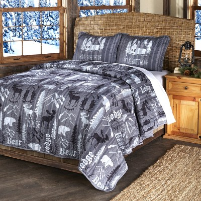 Lakeside Home Sweet Home Lodge Accent Bed Quilt Set with 2 Pillow Shams