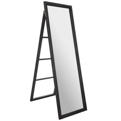 "22""x70"" Full Length Wood Ladder Standing Mirror with Easel Black - Gallery Solutions"