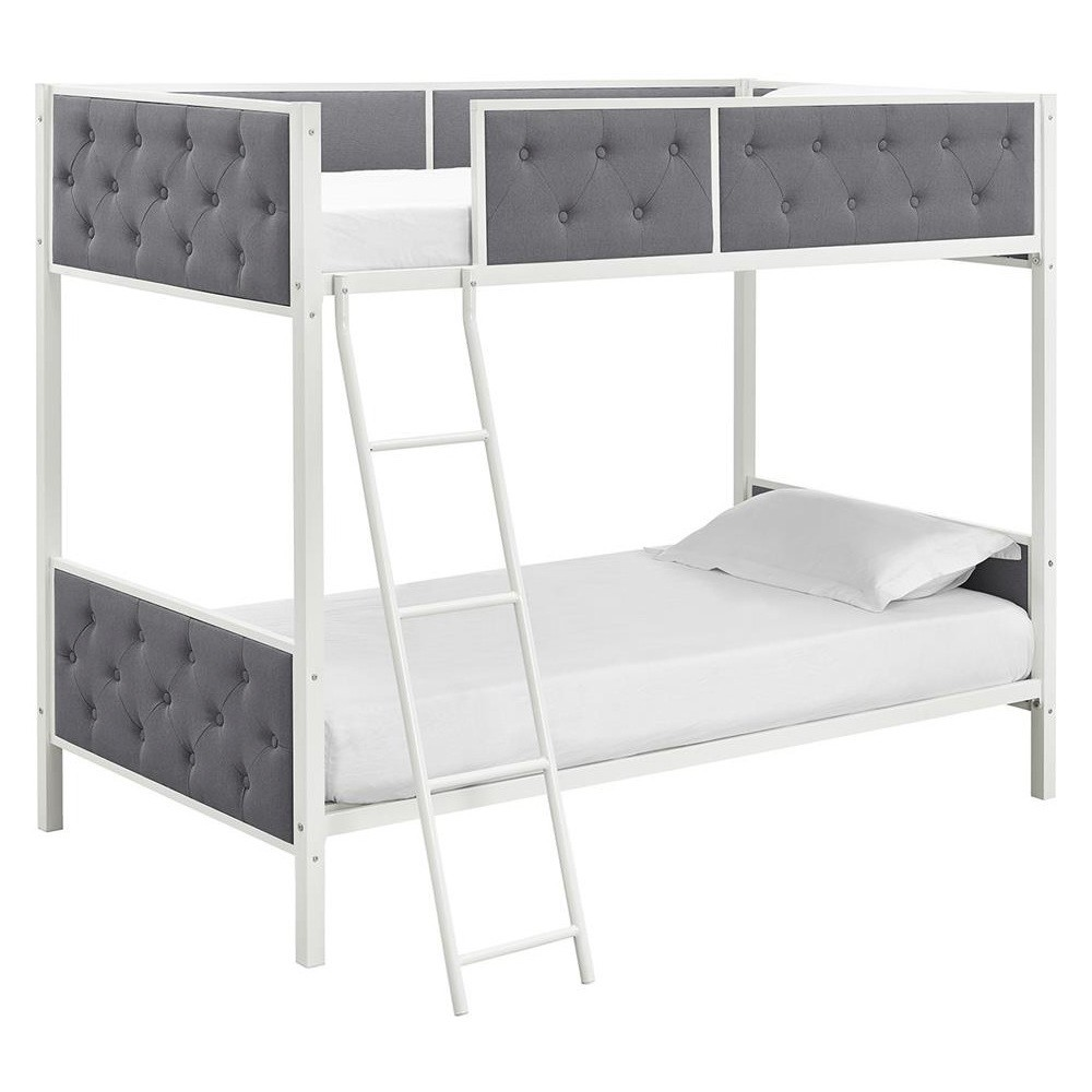 Image of Chesterfield Upholstered Bunk Bed - Full - White/Gray - Dorel Home Products