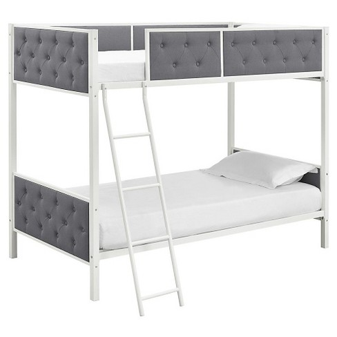 Chesterfield Upholstered Bunk Bed - Full - White/Gray - Dorel Home Products - image 1 of 8