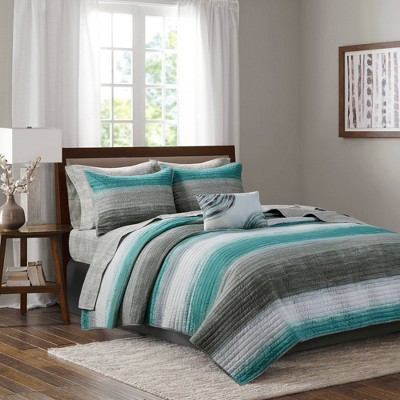 Seth California King 8pc Complete Reversible Coverlet and Cotton Sheet Set Aqua