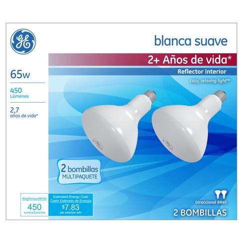 GE 65-Watt R40 Long Life Incandescent Light Bulb (2-Pack) - Soft White - image 1 of 3
