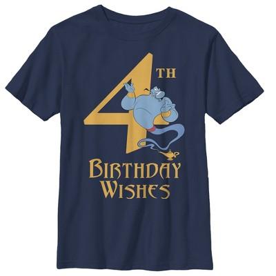 Boy's Aladdin Genie 4th Birthday Wishes T-Shirt