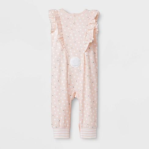 b0cbb96394d2 Baby Girls  Sleeveless Ruffle Bunny Long Romper - Cat   Jack™ Peach   Target