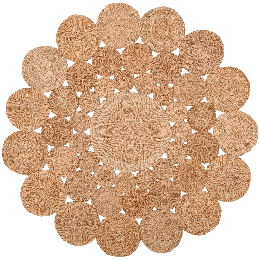 6' Solid Woven Round Area Rug Natural - Safavieh, White