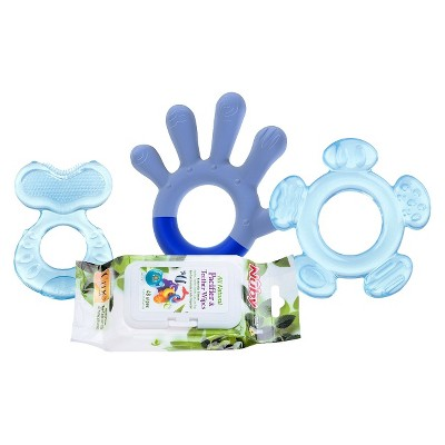 Nûby 3 Stage Teething System with 4pk Citroganix Teether Wipes - Boy