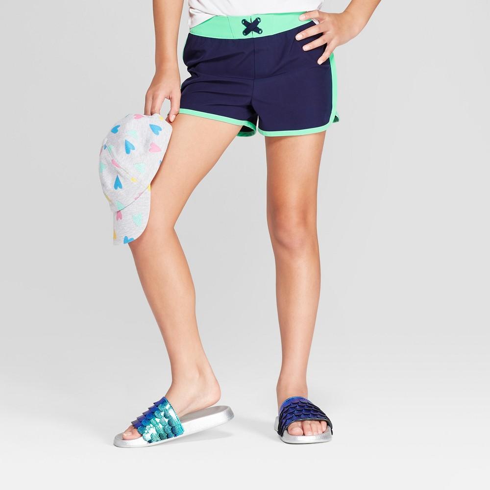 Plus Size Girls' Board Swim Shorts - Cat & Jack Navy XL Plus, Blue