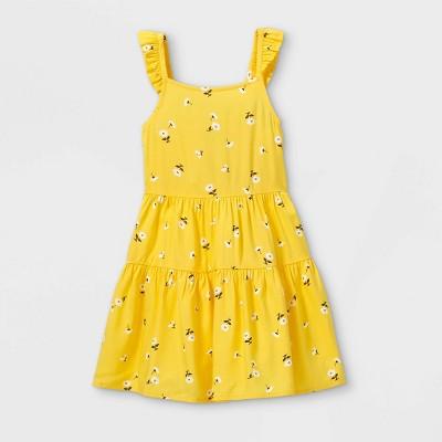 Toddler Girls' Tie-Back Floral Tank Dress - art class™ Yellow
