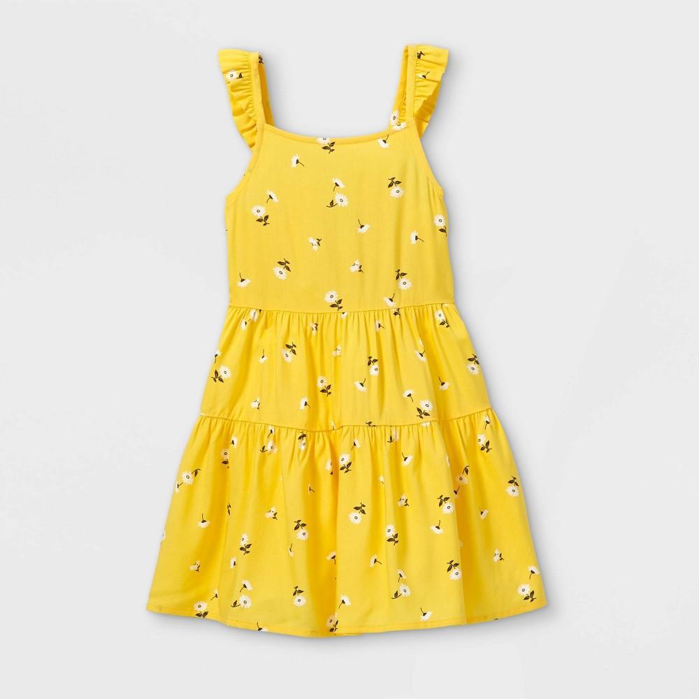 Toddler Girls 39 Tie Back Floral Tank Dress Art Class 8482 Yellow 18m