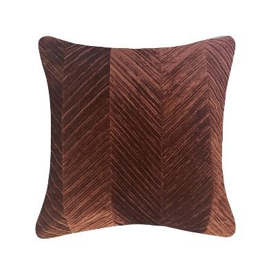 Chevron Velvet Throw Pillow Rust - Edie@Home