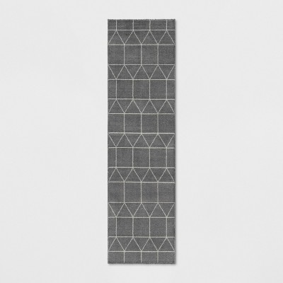 1'10 X7' Woven Geometric Runner Rug Charcoal Heather - Project 62™