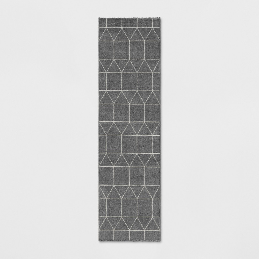 Elle Linear Grid Woven Runner Rug Charcoal Heather
