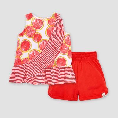 Burt's Bees Baby® Baby Girls' Watercolor Grapefruit Tank Top & Shorts Set - Red/White 3-6M