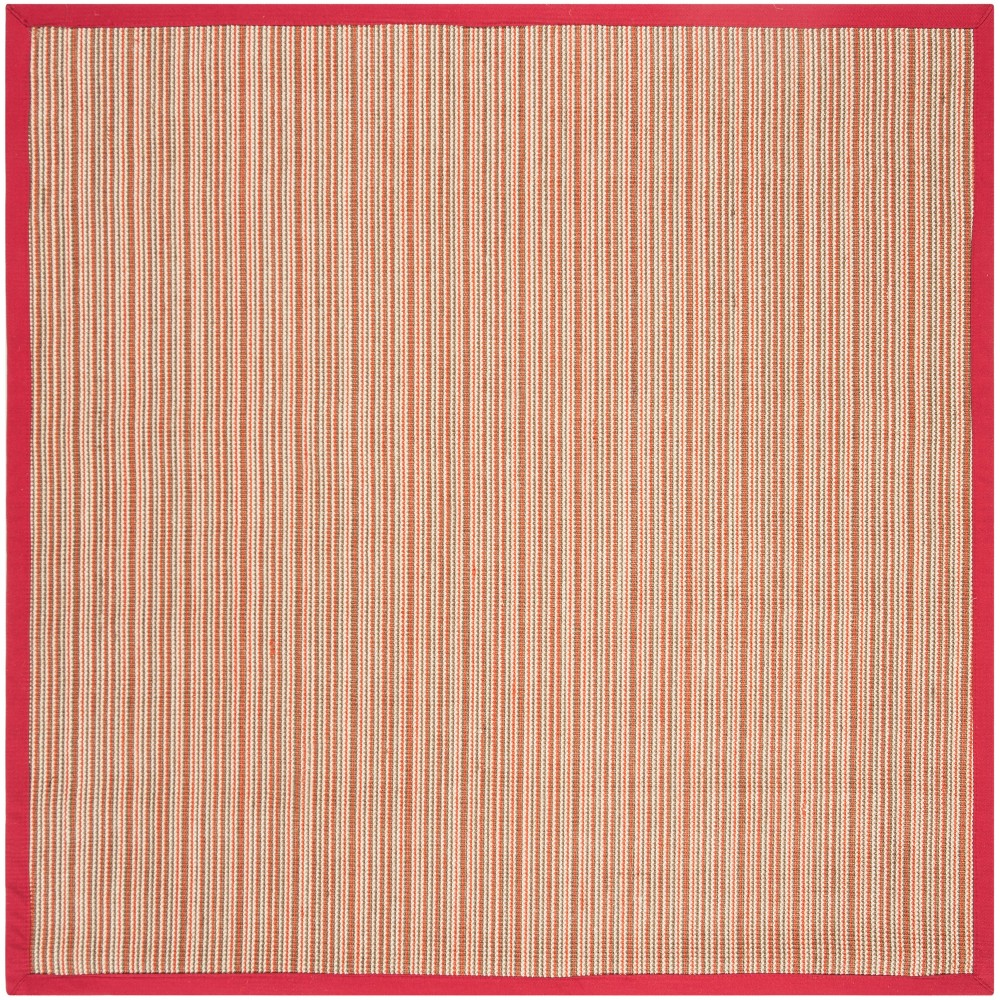 6'X6' Stripe Loomed Square Area Rug Brown/Red - Safavieh