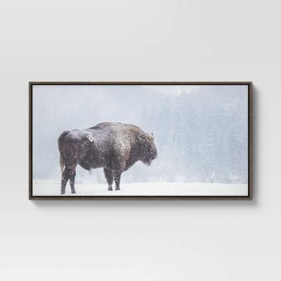 """24"""" x 47"""" Bison Floating Framed Canvas - Threshold™"""
