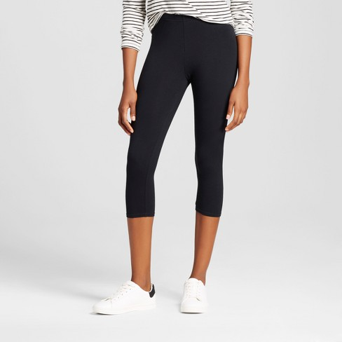 Women's Solid Jersey Capri Leggings - Xhilaration™ - Black L - image 1 of 2