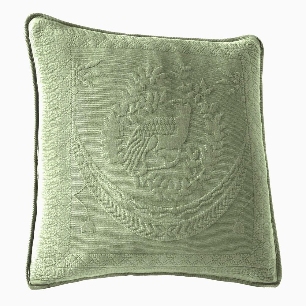 Sage (Green) King Charles Matelasse Throw Pillow (20x20) - Historic Charleston