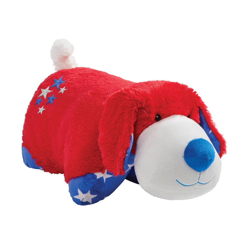 "Image of ""18"""" Americana Red Puppy Large Throw Pillow - Pillow Pets"""