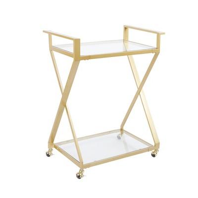 Regina Gold X Frame 2 Tier Serving Cart Gold - Silverwood
