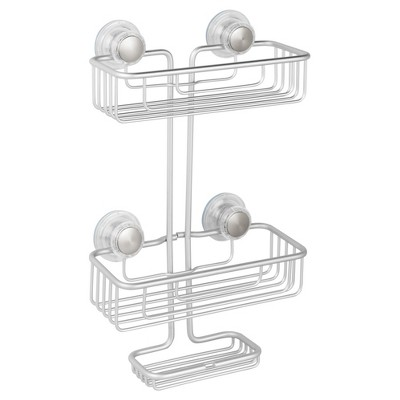 Rustproof Aluminum Turn-N-Lock SuctionBathroom Shower Caddy 3-Tiers Silver - InterDesign