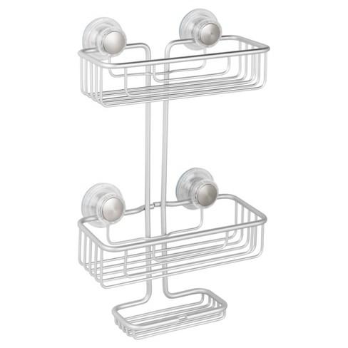 Rustproof Aluminum Turn-N-Lock SuctionBathroom Shower Caddy 3-Tiers Silver - InterDesign - image 1 of 4