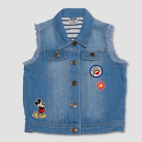 Junk Food Girls' Mickey Mouse Denim Vest - Blue - image 1 of 2