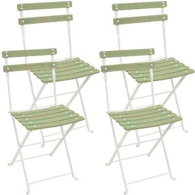 Sunnydaze Indoor/Outdoor Patio or Dining Classic Café European Chestnut Wooden Folding Bistro Chair - Antique Green - 4pk