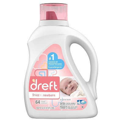 Dreft Stage 1: Newborn Baby Liquid Laundry Detergent - 64 Loads - 100 fl oz