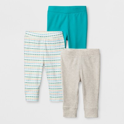 Baby 3pk Sweet Critters Pants - Cloud Island™ Turquoise 0-3M