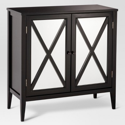 Wooddale Two Door Mirrored Storage Cabinet Black   Threshold™ : Target