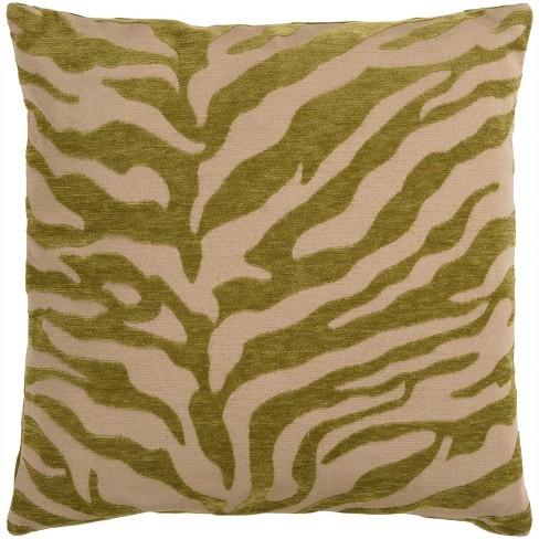 "Surya 18"" Square Zebra Animal Print Indoor Throw Pillow - Green/Beige - image 1 of 1"
