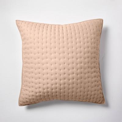Euro Cashmere Blend Quilted Pillow Sham Dark Sand - Casaluna™