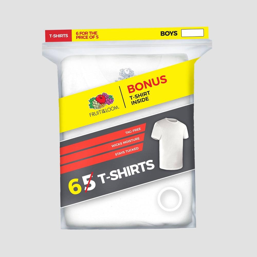 Image of Fruit of the Loom Boys' 5+1 Bonus Pack Crew Neck T-Shirt - White XL, Boy's