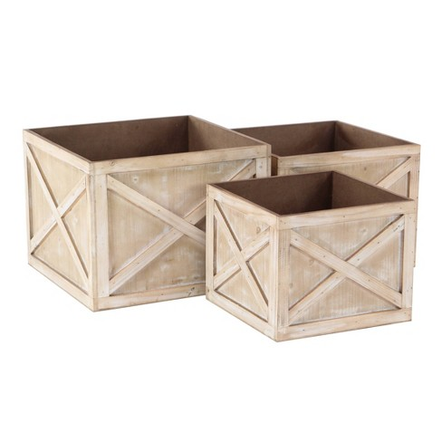 Set Of 3 Farmhouse Faded Wooden Square Crate Planters Olivia May Target