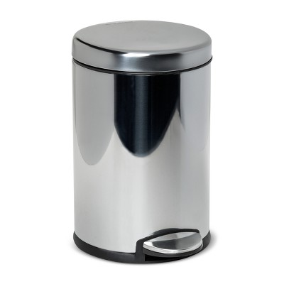 4.5L Round Step Open Trash Can Medium Silver - simplehuman