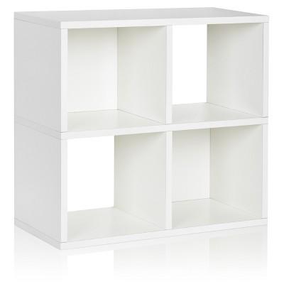 Under Desk Storage, 4 Cubby Bookshelf, Eco Friendly And Formaldehyde Free, White   Lifetime Guarantee by Way Basics