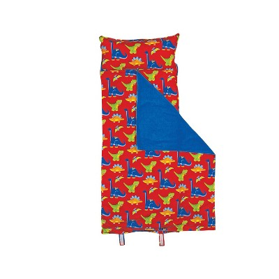Stephen Joseph Kids SJ770259 All Over Print Nap Mat with Built In Blanket, Pillow, Over Shoulder Carrying Straps, and Dinosaur Design, Red