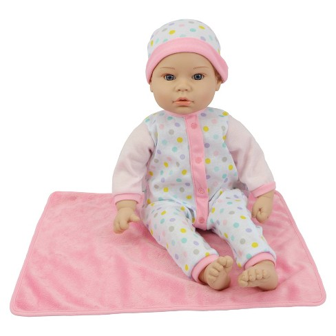 "18"" Sweet and Happy Baby with Blanket - Polka Dot Pajamas - image 1 of 4"