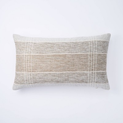 Lumbar Two Tone Textured Pillow Neutral - Threshold™ designed with Studio McGee