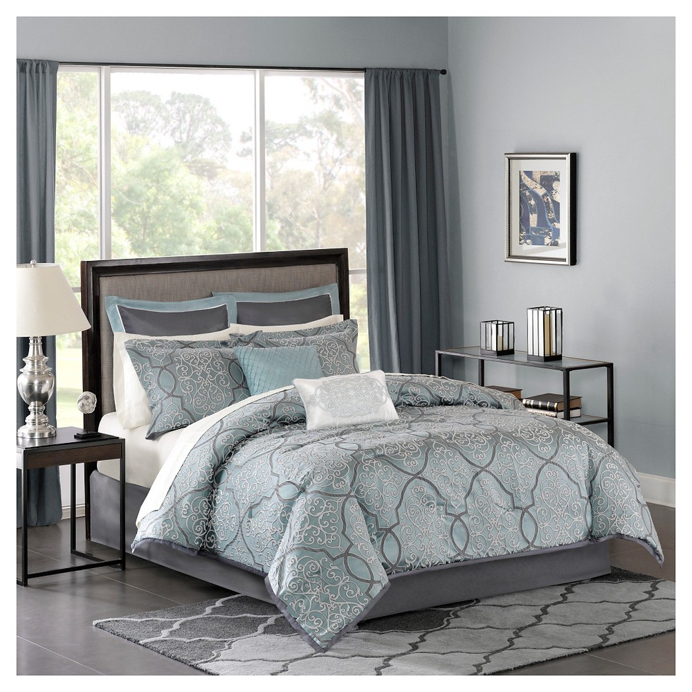 Blue Octavia Jacquard Complete Multiple Piece Comforter Set (California King) - 12 Piece