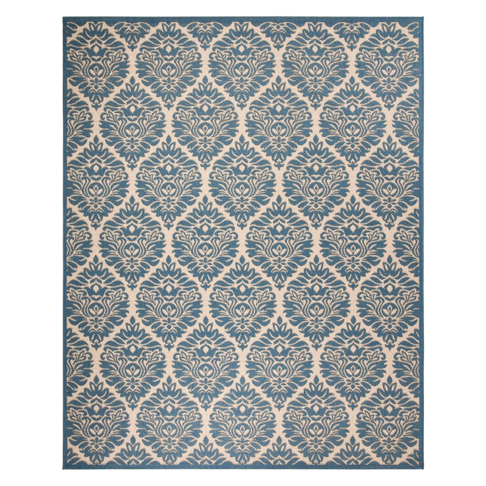 8'X10' Damask Loomed Area Rug Cream/Blue (Ivory/Blue) - Safavieh