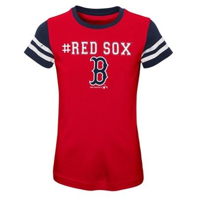 MLB Boston Red Sox Girls' Scoop Neck Yolk T-Shirt - XS